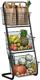 3 Tier Market Basket,Storage Basket Organizer, Fruit Vegetable Produce Metal Hanging Storage Bin for Kitchen,Bathroom Tower Baskets,Antique Black