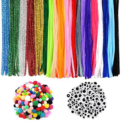 TOAOB 320 Stück Mehrfarbig Pfeifenreiniger Chenilledraht Pompons und Selbstklebend Wackelaugen Verschiedene Größen für Handwerk Dekoration