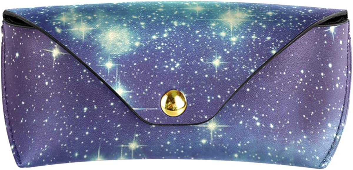 Sunglasses Case Eyeglasses Pouch Portable Multiuse Starry Night Sky Constellation Goggles Bag Cute PU Leather