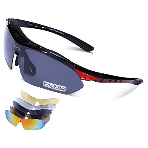 90ed701f1b Carfia Polarized Sports Sunglasses UV400 Outdoor Cycling Glasses for Men  Women Driving Golf Fishing Running Ski