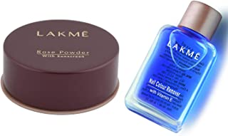 Lakme Rose Face Powder, Warm Pink, 40g & Lakmé Nail Color Remover, 27ml