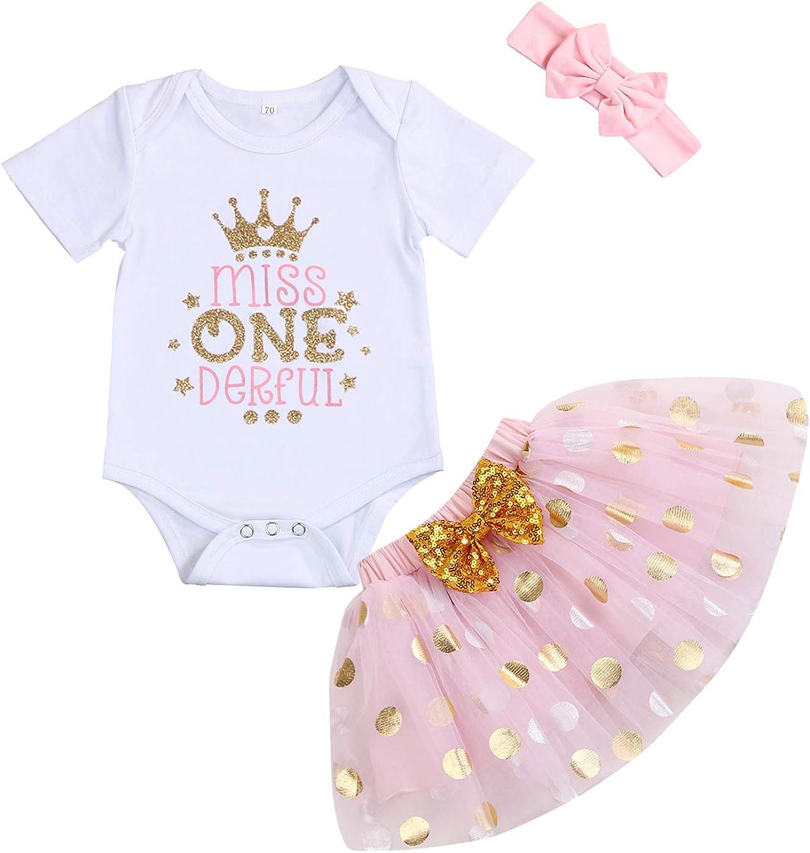 Baby Girl 1st Birthday Cake Smash Toddler Girl Miss Onederful Romper Tutu Skirt with Headband Clothes Set