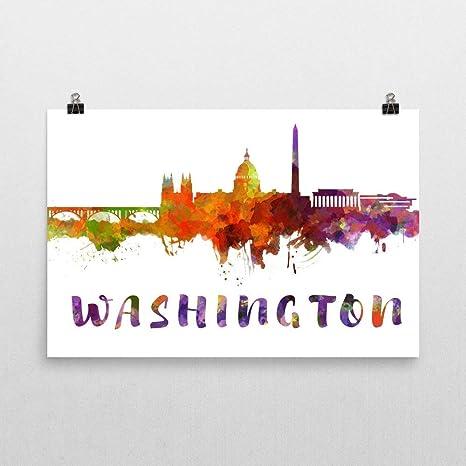 "Canvas Prints Wall Art-Washington Dc Skyline in Watercolor Background 32/"" x 48/"""
