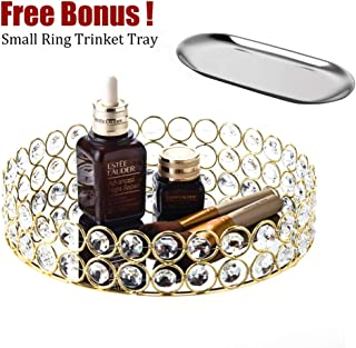 Feyarl Mirrored Crystal Vanity Makeup Round Tray Ornate Jewelry Trinket Tray Organizer Cosmetic Perfume Bottle Tray Decorative Tray Home Deco Dresser Skin Care Tray Storage (Gold)