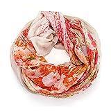 Manumar - Bufanda redonda para mujer en diferentes colores con diseño de flores como accesorio perfecto para otoño e invierno rojo / blanco Talla única