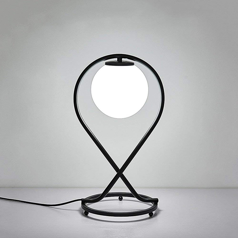 Dekorative Tischlampe für Zuhause Moderne Mode Einfache Eisen Glas Tischlampe für Wohnzimmer Schlafzimmer Nachttischlampe Kreative Studie Schreibtischlampe Energiesparlampe Schwarz ( Farbe   Schwarz )