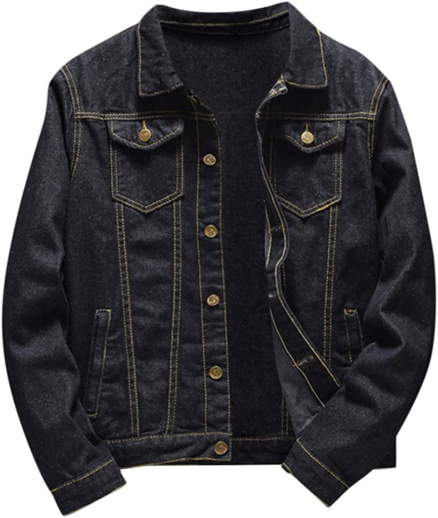 MODOQO Men's Denim Jacket Long Sleeve Relax Fit Big and Tall Jeans Outwear