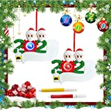 AnNido Personalized Quarantine Survived LED Christmas Ornament Kit, 2020 Customized Family Members Name Xmas Tree Decorating Pendants DIY Creative Gift (2PCS)