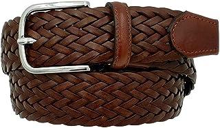 ESPERANTO Cintura intrecciata in cuoio rigenerato e cuoio altezza 3,5 cm, artigianale made in italy con fibbia nichel free...
