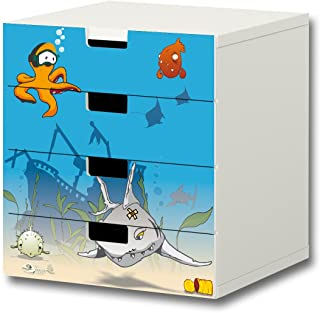 Bajo el agua pegatinas muebles | S4K06 | adecuado para la cómoda con 4 cajónes STUVA de IKEA | (mueble no incluido) STIKKIPIX