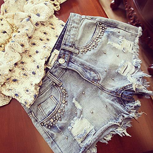 DAIDAICDK Sommer Frauen Diamant Perlen Denim Shorts Damen Jeans Shorts Mori Mädchen Heiße Shorts Short