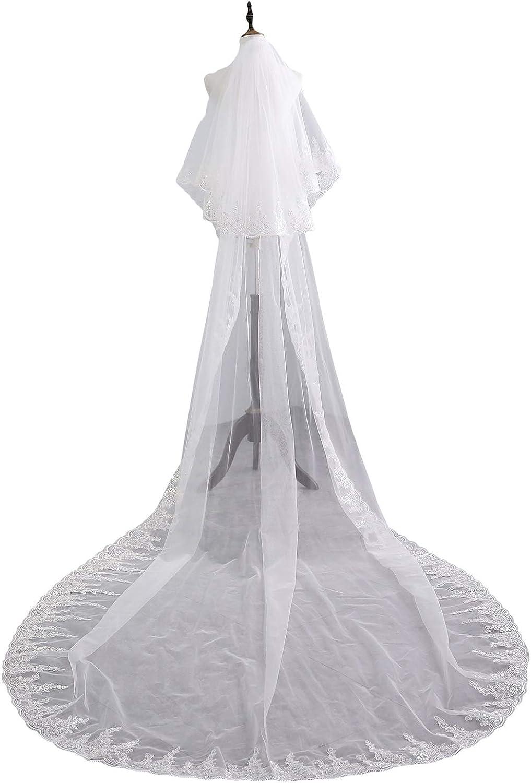 2 Tier Mantillas and Catholic Sequins Lace Applique Bridal Wedding Veils With Comb