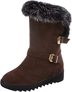 Sneeuwlaarzen voor dames, lange schacht, winterschoenen, warme platte winterlaarzen met bont, instaplaarzen