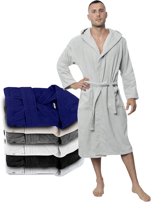 Bathrobe Men - 100% Turkish Cotton - No Chemicals, Hood, 2 Pockets, Belt, Soft, Absorbent at  Men's Clothing store