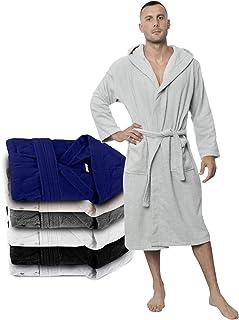 Twinzen Peignoir de Bain Homme - XS, S, M, L, XL, XXL - Blanc - 100% Coton avec Capuche - Certifié OEKO-TEX® - Robe de Cha...