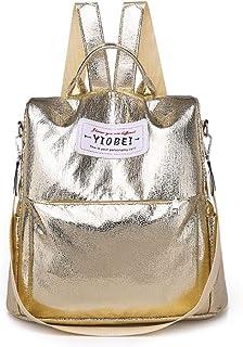 Multifunctional Messenger Bag Pu Soft Leather Waterproof Backpack Outdoor Wild Travel Bag (Color : Gold)