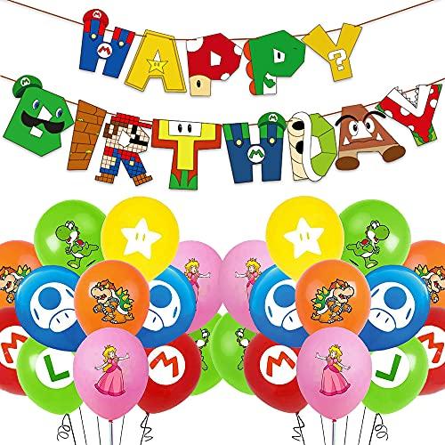 Ensemble de Ballons D'anniversaire de Mario, Décoration D'anniversaire de Mario, Décoration de Ballon de Bannière de Joyeux Anniversaire Compacte Pour La Fête D'anniversaire Des Enfants de Pokemon