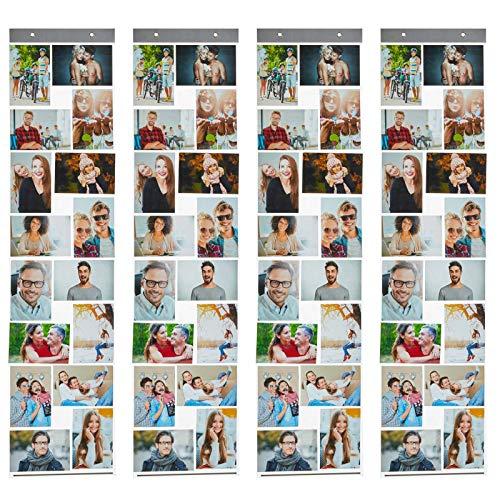 HAC24 4er Set Fotovorhang mit 16 Fototaschen 10x15cm für Bilder im Hoch und Querformat Fotohalter Bildervorhang Bilderhalter Foto Vorhang