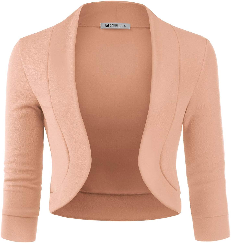 Doublju Womens 3/4 Sleeve Bolero Open Front Cardigan with Plus Size