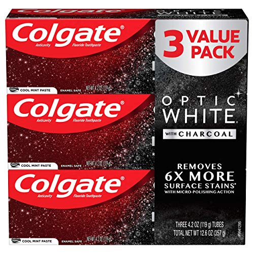 Colgate Optic White Charcoal Toothpaste for Whitening Teeth with Fluoride, Cool Mint - 4.2 Ounce (3 Pack)