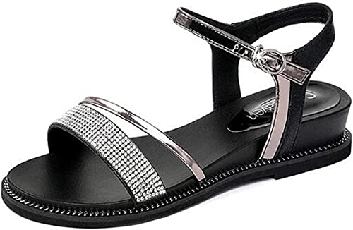 Sandales PU Supérieur Bout Ouvert Femme été Strass Chaussures Plates