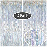Moohome 2 Pack 3.28 ft x 9.84 ft Metallic Sparkle Silver Fringe Curtains Tinsel Foil Curtains for Party Backdrop Photo Booth Backdrop Door Window Streamer Curtain Party Wedding Background Decor
