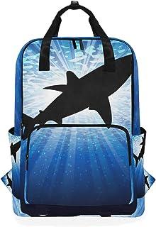MONTOJ Mochila de Viaje con patrón de tiburón Mochila Escolar