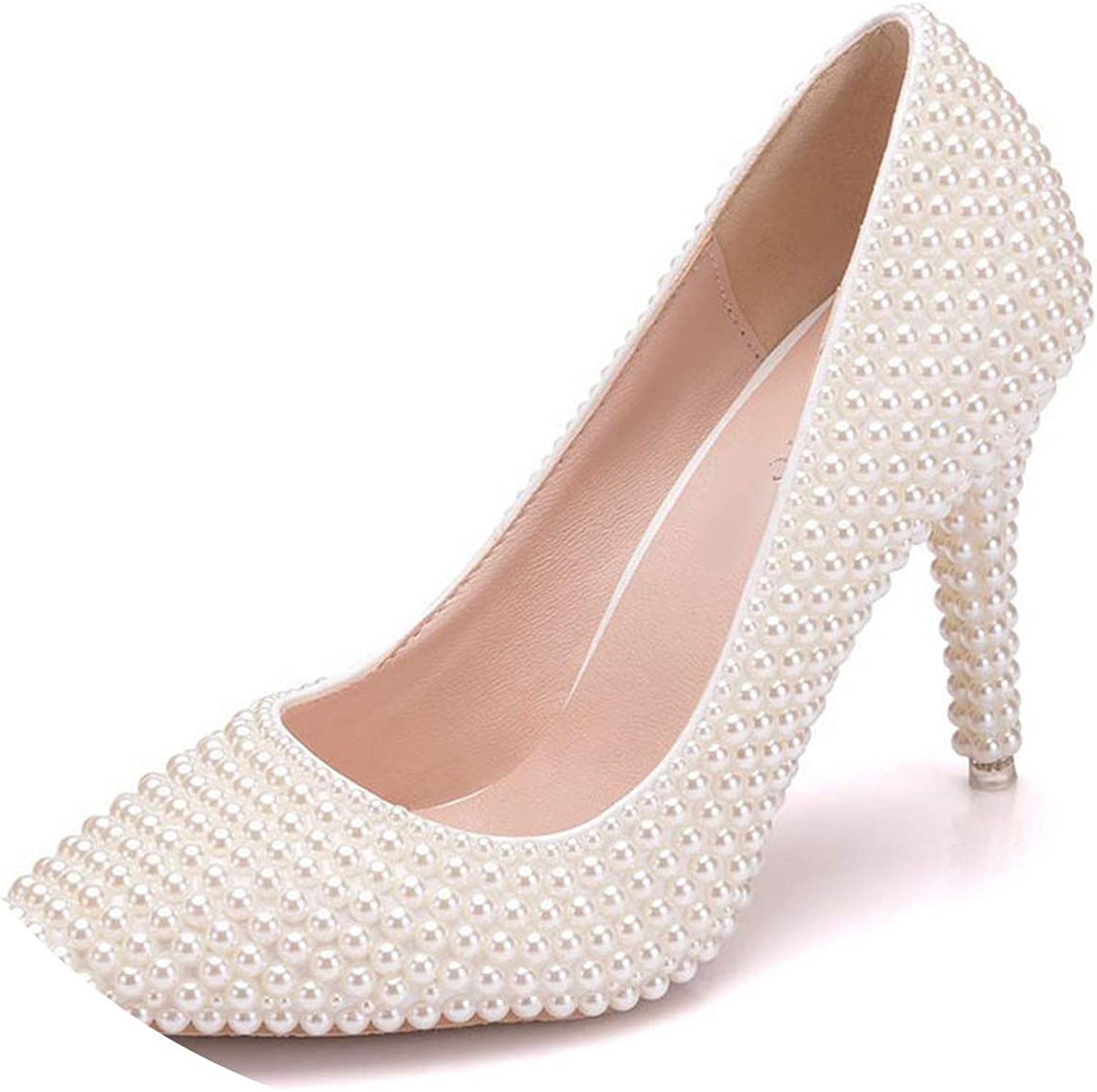 Sunny Doll 2019 Women High Heels Pumps Full Pearl Heeled White Wedding Party shoes Stiletto Beige Ladies shoes
