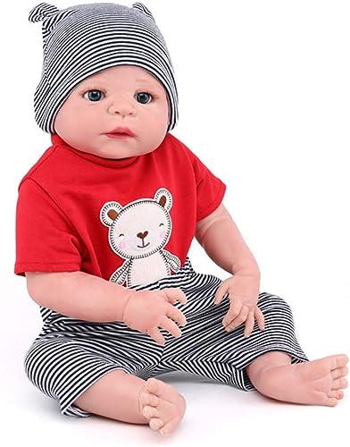 NPKdoll Reborn Baby Puppe Lebensecht Simulation Junge 55cm,Z242 Ganz  Silikon Material,Implantiertes Mohair Kann Duschen,Spielzeug Geschenk Puppe Sammeln