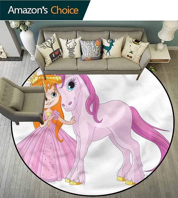 RUGSMAT Princess Machine Washable Round Bath Mat Girl With Magic Unicorn Circle Rugs For Living Room Round 31