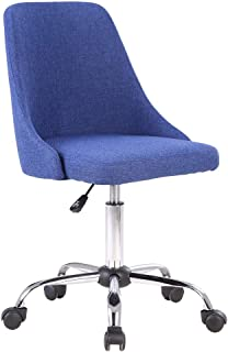 Porthos Home Roache Task Chair with Adjustable Height, 360° Swivel and 5-Claw Metal Base with Roller Caster Wheels (Hemp Fabric Upholstery, for Home and Office Uses), One Size, Blue