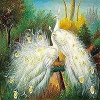 3D壁画壁紙美しい白孔雀の森の風景画壁画リビングルームダイニングルームベッドルームアート壁紙-250cm(W)x200cm(H)