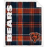 Pegasus Home Fashions Chicago Bears 60'' x 70'' Plaid Ultra Fleece Sherpa Throw Blanket