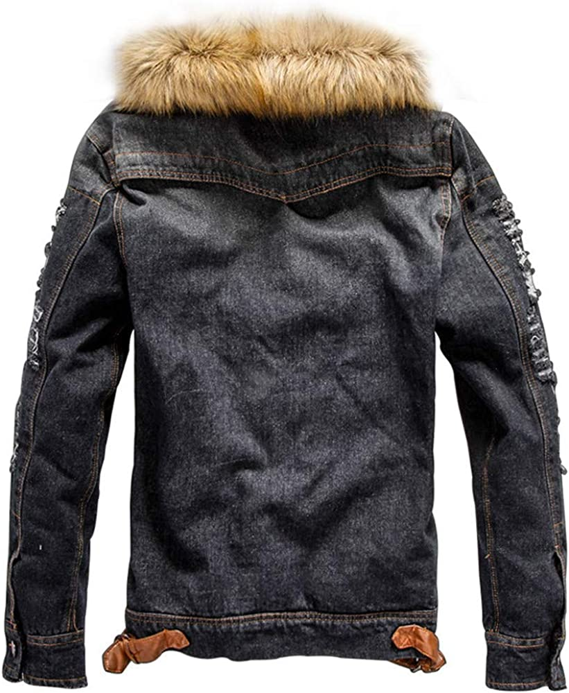 RedBrowm Men's Autumn Winter Pocket Button Rinsing Flick Denim Hooded Jacket Top Coat