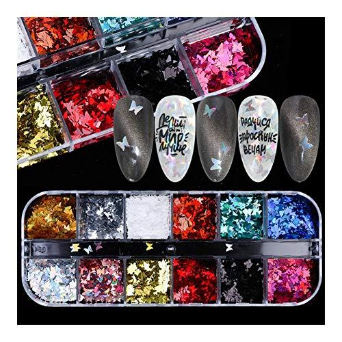 L.J.JZDY Glitter de uñas 12 Uñas Rejilla de Las Lentejuelas de Paillette de Aluminio Irregular Flakes Láminas Pigmento Espejo Clavo del Brillo de la decoración del Arte Lentejuelas de Clavos