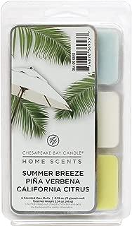 Chesapeake Bay Candle Wax Melts Summer Breeze/Piña Verbena/California Citrus 2.34oz, Pack of 1