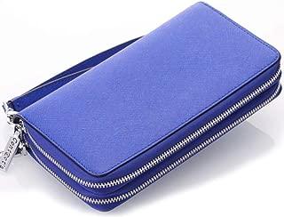 Leather Women's Wallet Cross-Grain Leather Double Zipper Hand Purse Multi-Function Key Wallet Waterproof (Color : Blue, Size : S)