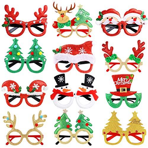 Joyibay 12 Paia Occhiali di Natale Occhiali da Festa Simpatico Cartone Animato Assortito Bicchieri da Festa in Costume Forniture per Feste Decorazione per Bambini e Adulti