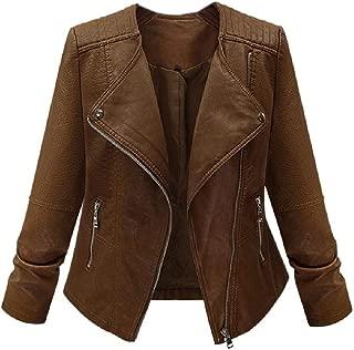 neveraway Women Moto Outwear Fall Winter Plus Size Faux-Leather Coat Jacket
