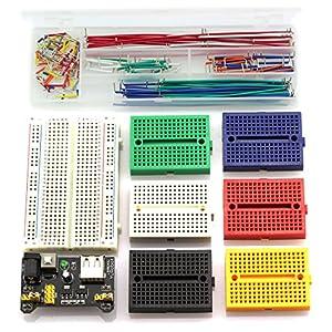 HJ Garden Electronic Component Power Supply Module Assorted Kit for Arduino, Raspberry Pi, STM32, UNO, MEGA2560 400P 170P Breadboard + Power Module + Jumper