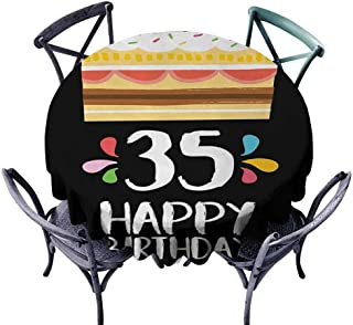 haommhome 35th Birthday Dinner Picnic Table Cloth Celebration Card Design Thirthy Five Years Old Fun Art Style Cake Candles,Size D 54