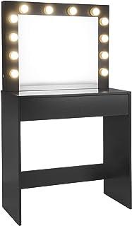 EUGAD Mesa de Tocador con Iluminación LED Tocador Moderno Cosmético con 12 Lámparas Escritorio con Espejo Mesa de Maquillaje 80x40x140cm Negro 0020SZT