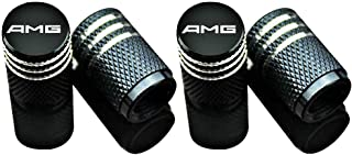 EVPRO Tire Valve Stem Caps Car Accessories 4 Pack Black Fit for Benz AMG