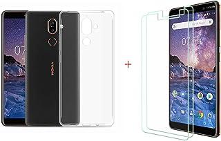 YZKJ Fodral till Nokia 7 Plus (6,0 tum) Cover transparent silikon skyddsfodral TPU skal fodral [2 st] pansarglas skärmskyd...
