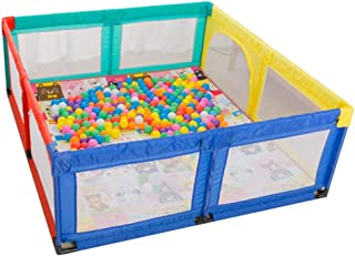 MWPO Baby Park Fun Amusement Park Rampant Toddler Barrier for Baby Doormats Creeping play mat with 100 balls included