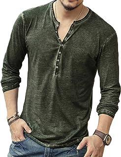 Hombre Cuello En V Camisetas Manga Larga Botón En Slim para Camisa Ocio Color Sólido La Moda Blusa Superior Retro Henley C...
