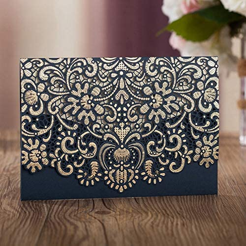50 Cheap WISHMADE Max 48% OFF Navy Blue Laser Cut Foil wi Wedding Gold Invitations