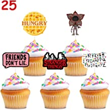 25 Stranger Things Cupcake Toppers Cake Topper Birthday Decorations Party Supplies for Children
