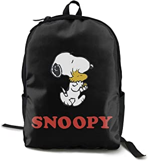 Snoopy Pack Mochila Clásica Escolar Negro Bolsa de Trabajo para Poliéster Unisex Escuela
