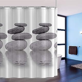 htovila Cortina de baño, Cortina de Ducha de poliéster con 12 Ganchos, 180 x 180 cm